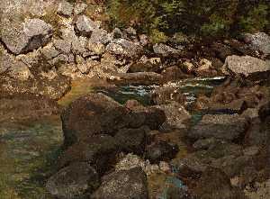 Deutsch Gebirgsbach mit Felsblöcken English Mountain Stream with Boulders