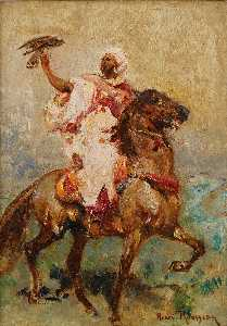 Two North Africans on Horseback a pair of paintings