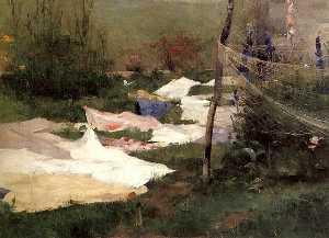 Drying Laundry - Helene Schjerfbeck