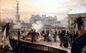 Retour des cendres de Napoléon Ier de Sainte Hélène. 14 décembre 1840 L'arrivée de La Dorade à Courbevoie