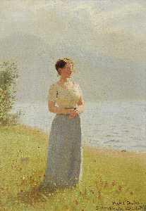 Girl beside a fjord