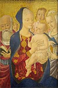 Madonna and Child with Sts Jerome, Catherine of Alexandria and Angels