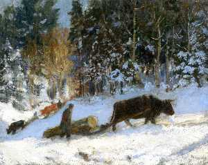 Log Cutters, Winter, Quebec
