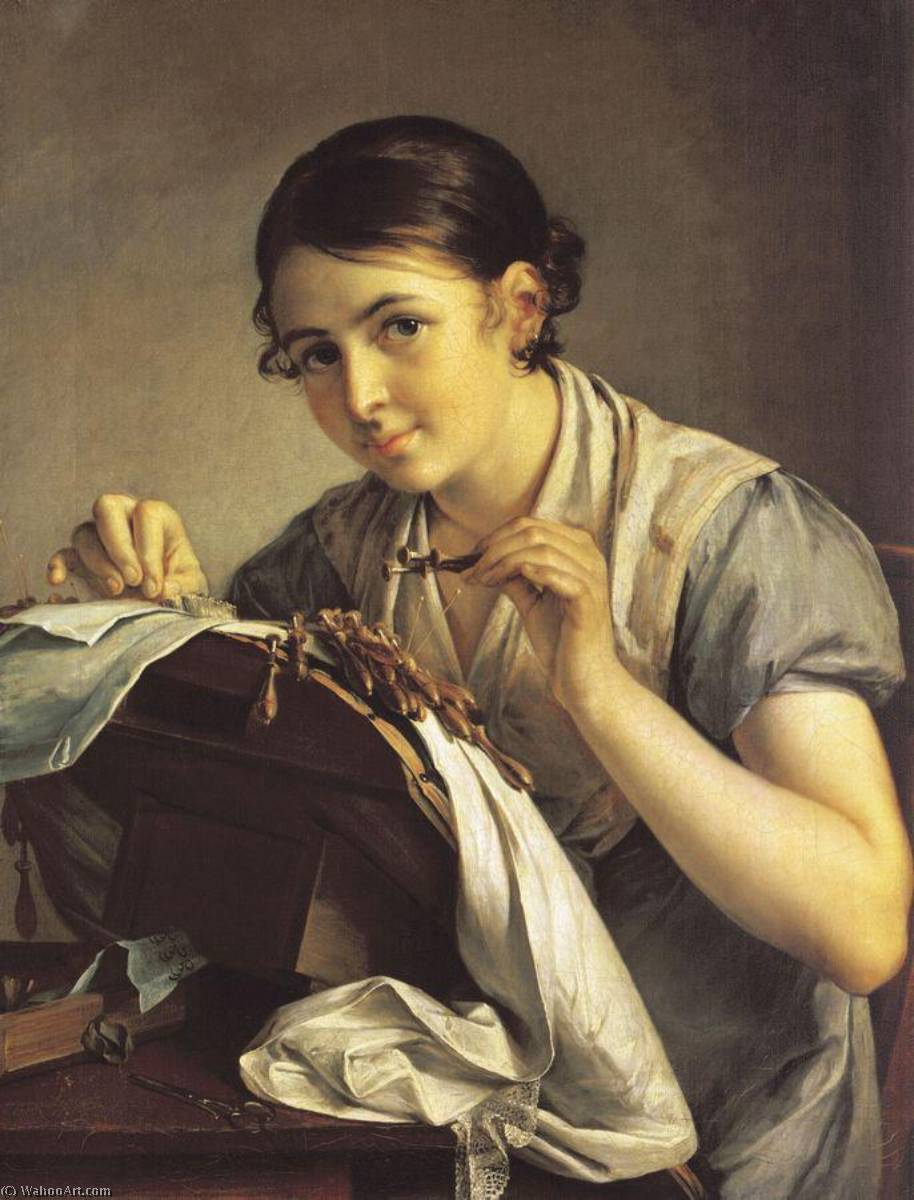 Wikioo.org - The Encyclopedia of Fine Arts - Painting, Artwork by Vasily Andreyevich Tropinin - The Lacemaker