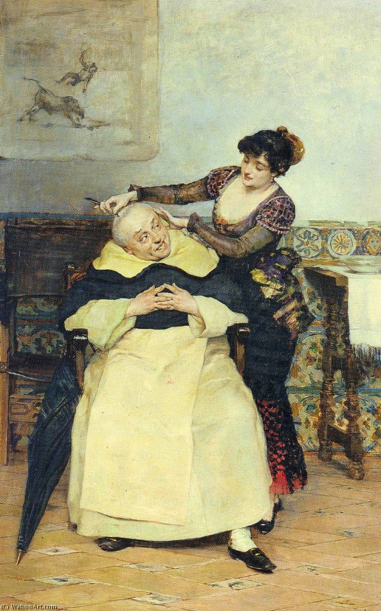 Wikioo.org - The Encyclopedia of Fine Arts - Painting, Artwork by Vicente Palmaroli Y Gonzalez - The Haircut