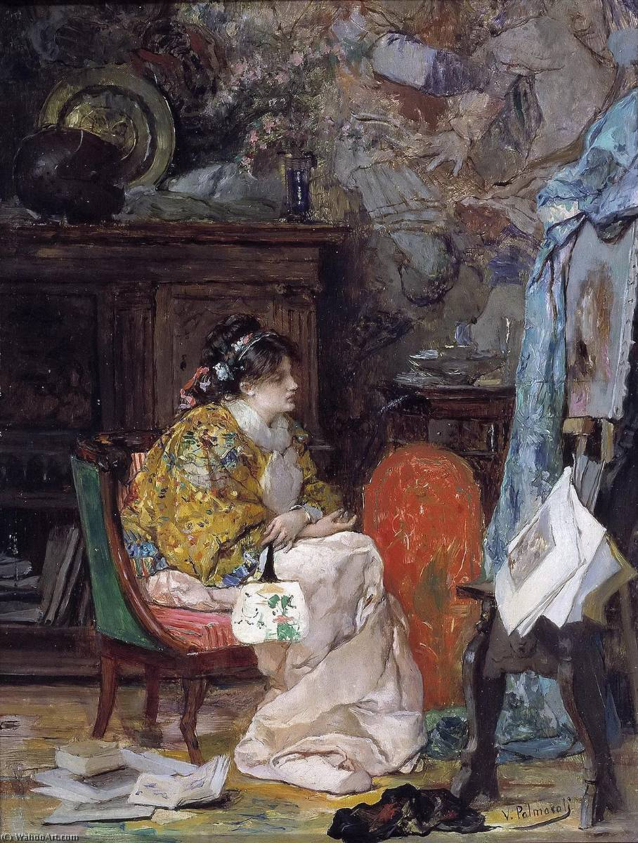 Wikioo.org - The Encyclopedia of Fine Arts - Painting, Artwork by Vicente Palmaroli Y Gonzalez - Model in the Studio of the Painter