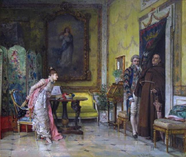 Wikioo.org - The Encyclopedia of Fine Arts - Painting, Artwork by Vicente Palmaroli Y Gonzalez - The Interrupted Reading