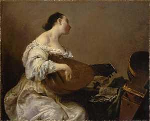 Deutsch Frau spielt Laute Français Femme jouant du luth