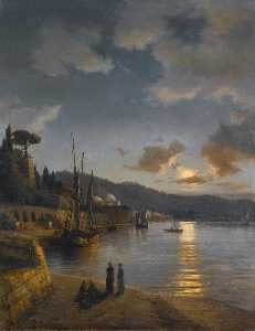 A Turkish Harbour by Moonlight