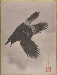 雪中鴉図 Crow Flying in the Snow