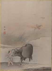 Boy with Cow at the River's Edge