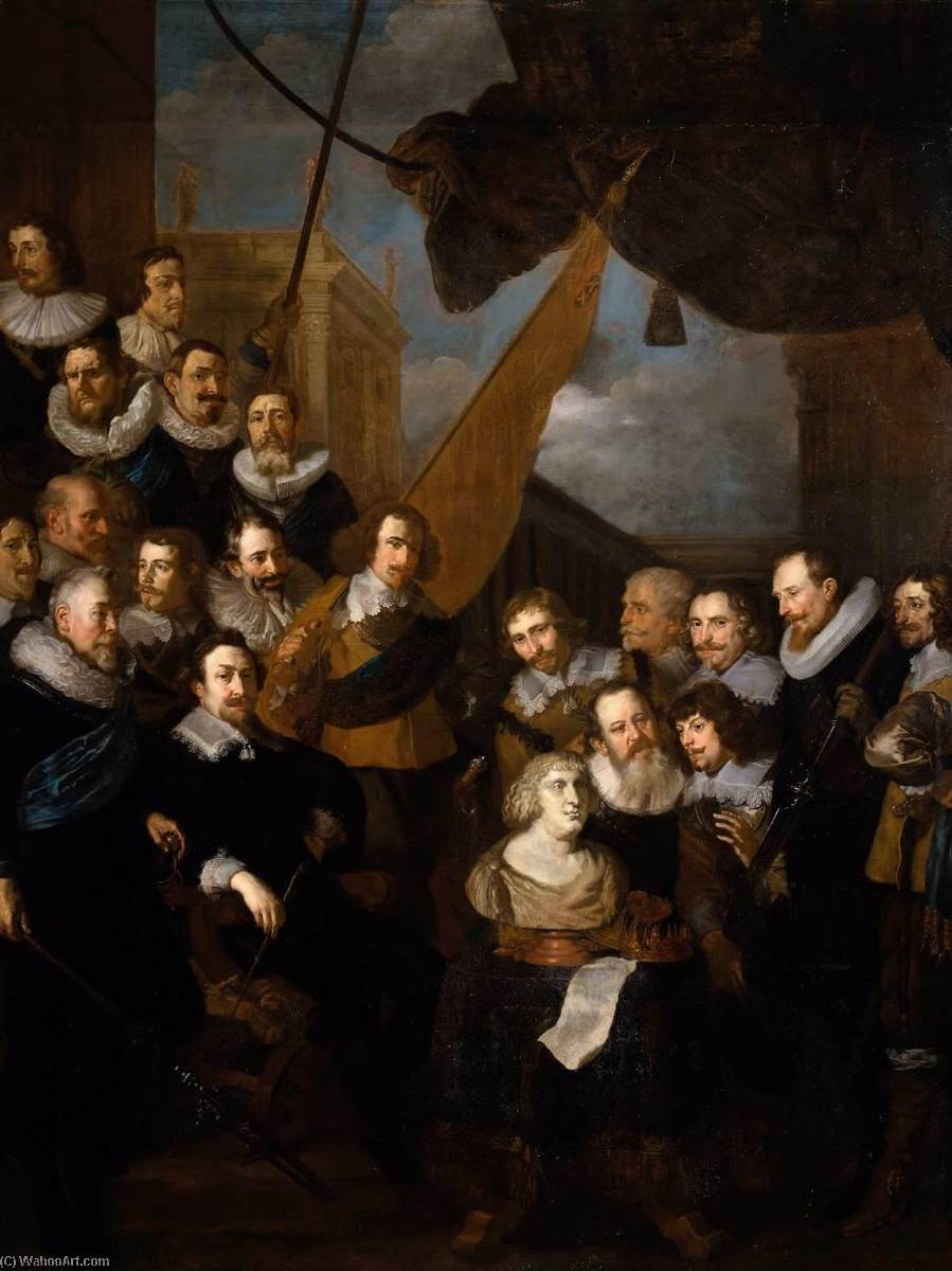 Wikioo.org - The Encyclopedia of Fine Arts - Painting, Artwork by After Joachim Von Sandrart - Captain Bicker's Company Waiting to Welcome Marie de Medicis in September 1638