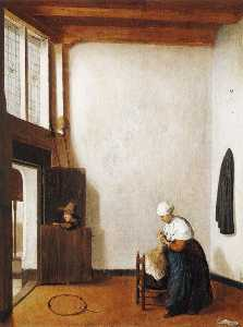 Interior with a Woman Combing a Little Girl's Hair