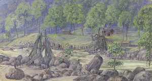 'Cane Bridge over the Rungheet. Darjeeling. India. October 1878'