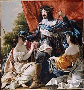LOUIS XIII ENTRE DEUX FIGURES DE FEMMES SYMBOLISANT LA FRANCE ET LA NAVARRE