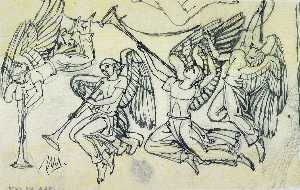 Four Angels (sketch for Altar Triptych, American Military Cemetery, Anzio, Italy)
