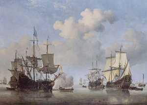Calm Dutch Ships Coming to Anchor