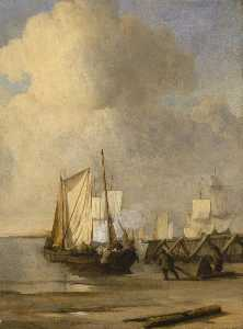 A Kaag Coming Ashore Near a Groyne with Ships and Vessels Under Sail Beyond