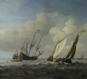 A Dutch Ship, a Yacht and Smaller Vessels in a Breeze