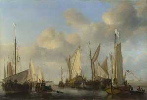 A Dutch Yacht surrounded by Many Small Vessels, saluting as Two Barges pull alongside