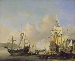 Calm French Merchant Ships at Anchor