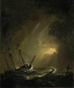 A Small Dutch Ship Riding out a Storm