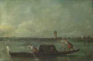 A Gondola on the Lagoon near Mestre