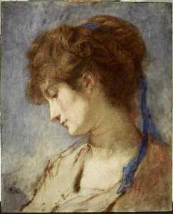 Tête de femme, ruban bleu