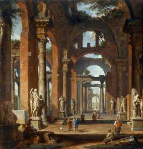 Statues in a Ruined Arcade