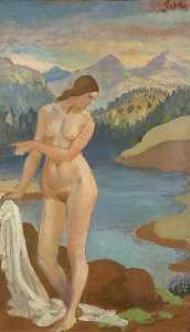 Bather in the Welsh Mountains