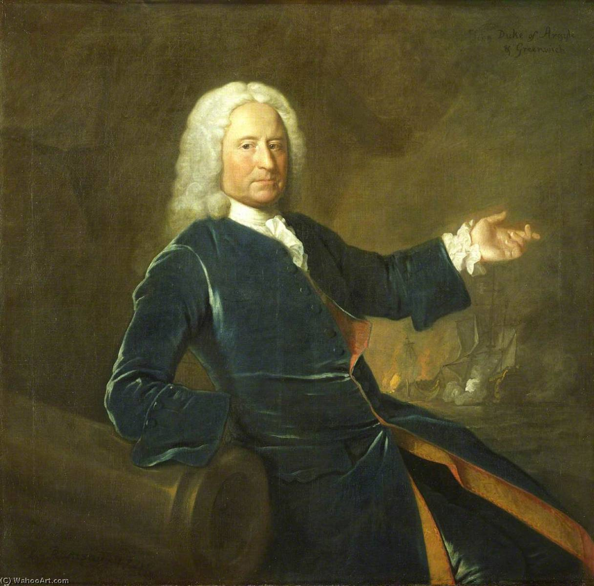 Wikioo.org - The Encyclopedia of Fine Arts - Painting, Artwork by Allan Ramsay - Admiral The Honourable Charles Stewart (1681–1740)