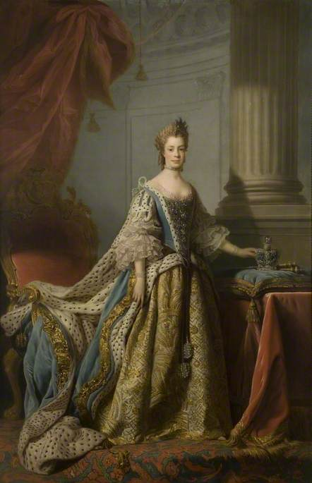 Wikioo.org - The Encyclopedia of Fine Arts - Painting, Artwork by Allan Ramsay - Charlotte Sophia of Mecklenburg Strelitz (1744–1818), Queen Consort of George III
