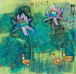 CRANES IN THE LOTUS POND