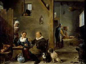 A Distillery with an elderly Man buying Gin from a Woman