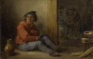 A young Peasant seated in an Interior