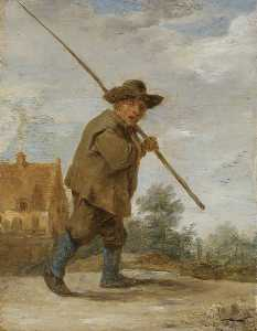 A Peasant carrying a Rod over his Shoulder