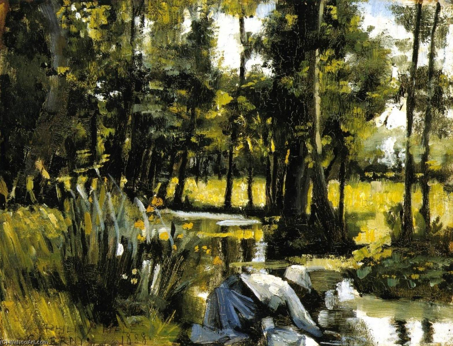 Wikioo.org - The Encyclopedia of Fine Arts - Painting, Artwork by Philip Leslie Hale - Landscape with Figures