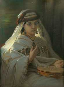Jeune marocaine au tambourin (Young Moroccan with tambourine)