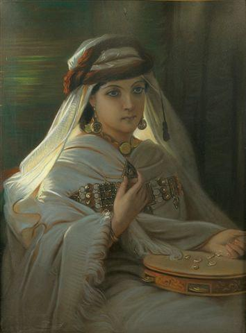 Wikioo.org - The Encyclopedia of Fine Arts - Painting, Artwork by Constant Joseph Brochart - Jeune marocaine au tambourin (Young Moroccan with tambourine)