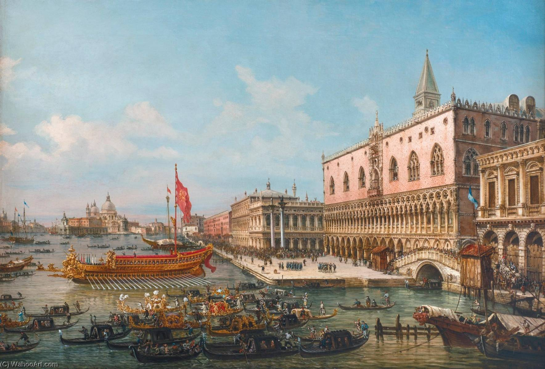 Wikioo.org - The Encyclopedia of Fine Arts - Painting, Artwork by Francesco Zanin - The departure of the Bucintoro from San Marco to San Nicoló del Lido