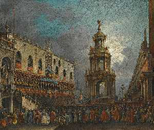 Venice, a view of the piazzetta at carnival