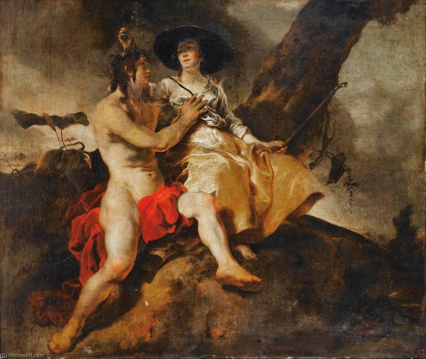 Wikioo.org - The Encyclopedia of Fine Arts - Painting, Artwork by Jan Van Noordt - Amaryllis couronnant Mirtillo