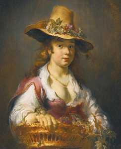 A girl with a basket of fruit