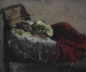 Vénitienne allongée à la jupe rouge dit aussi femme couchée