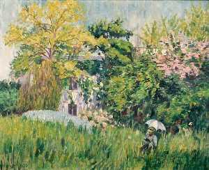 Le jardin de Bonnières Sembat dans son jardin (Titre attribué)