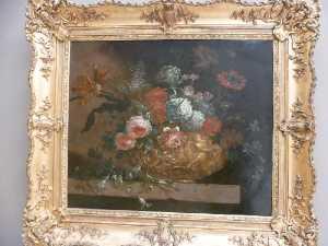 Fleurs dans un vase ornemental (peinture déposée)