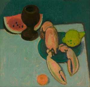 Still Life with Lobster and Watermelon