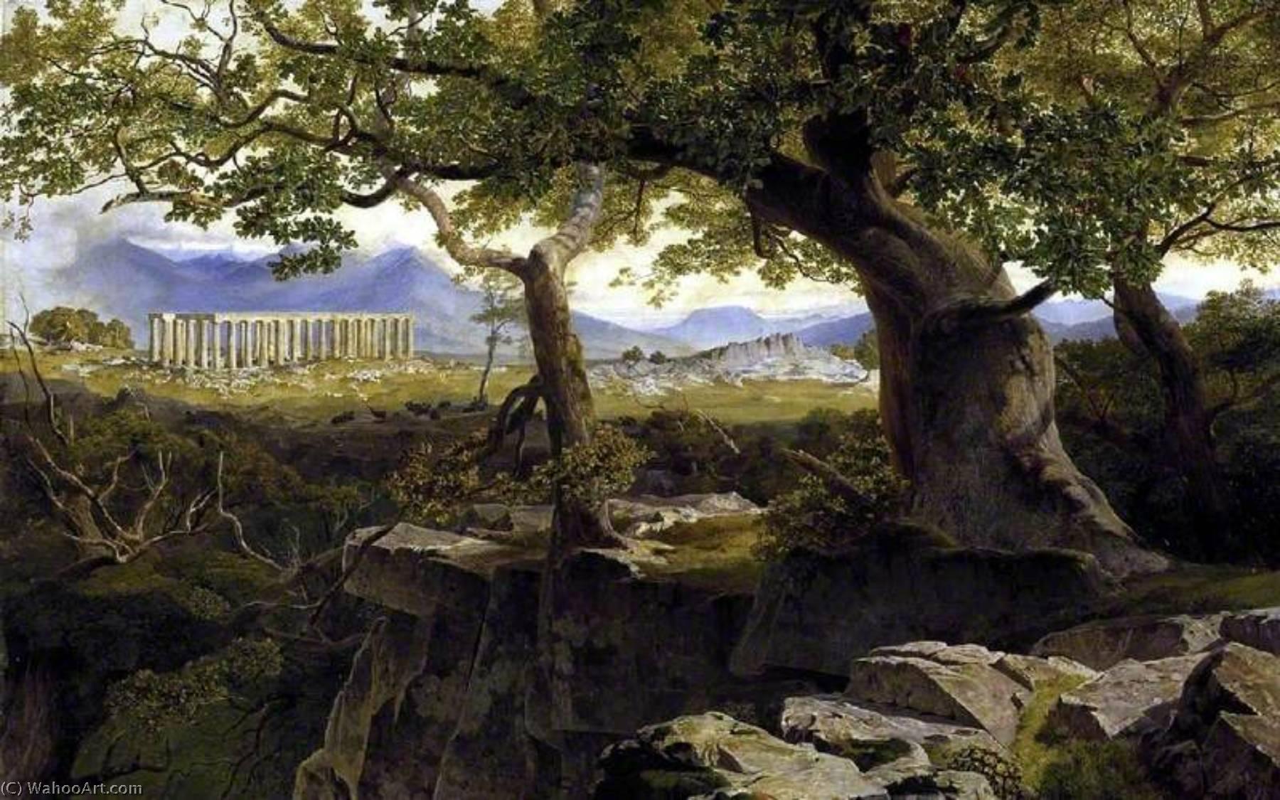 WikiOO.org - Enciclopedia of Fine Arts - Pictura, lucrări de artă Edward Lear - The Temple of Apollo at Bassae