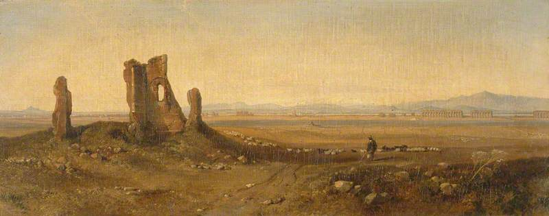 WikiOO.org - Enciclopedia of Fine Arts - Pictura, lucrări de artă Edward Lear - View in the Campagna, Rome (with Ruins)