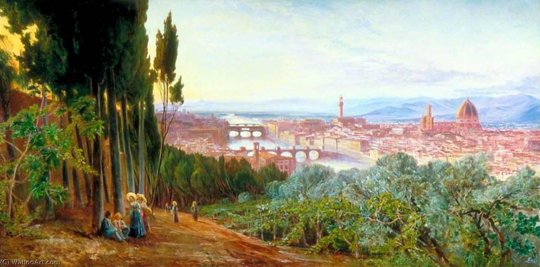 WikiOO.org - Enciclopedia of Fine Arts - Pictura, lucrări de artă Edward Lear - View of Florence from Villa San Firenze